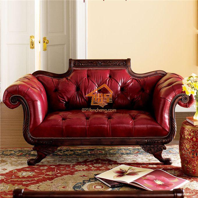 沙发红色真皮实木雕花欧式沙发
