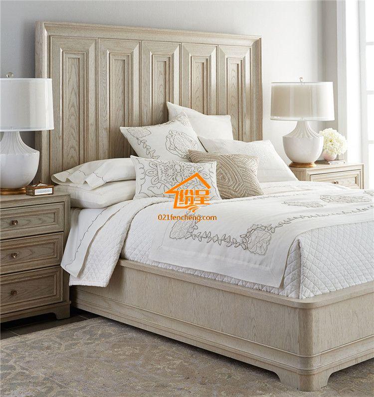 美式做旧实木双人床 高靠背实木床1.5/1.8米 橡木开放