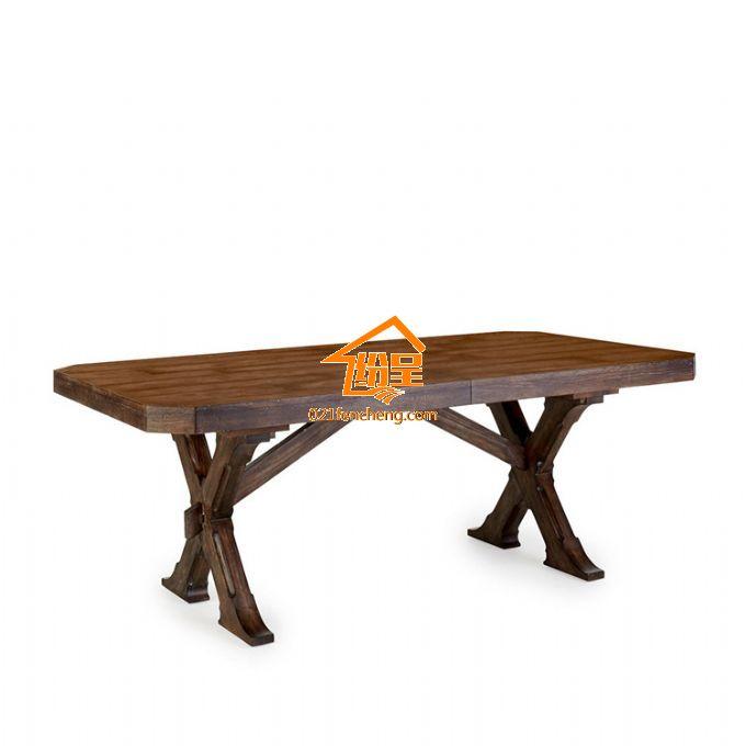 美式实木餐桌 长方形简约美式复古餐桌-白底图